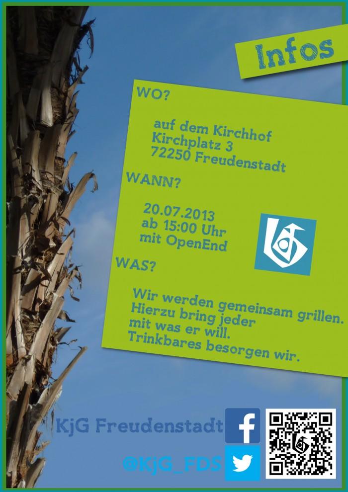 Rückseite der Einladung für das Sommerfest der KjG Freudenstadt mit den Infos