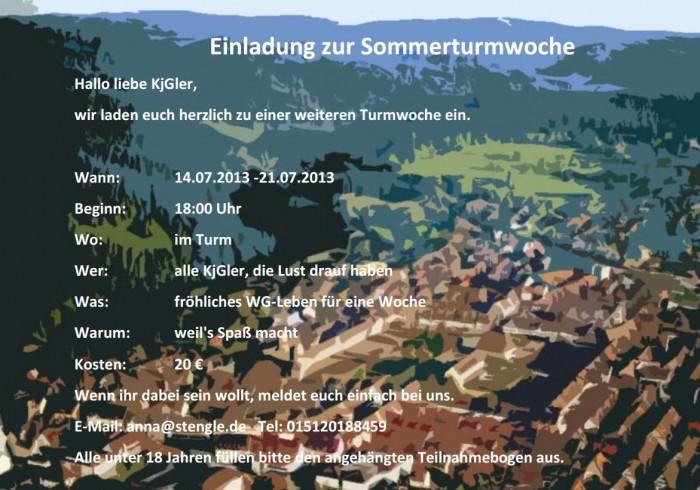 Einladung zur Sommerturmwoche 2013