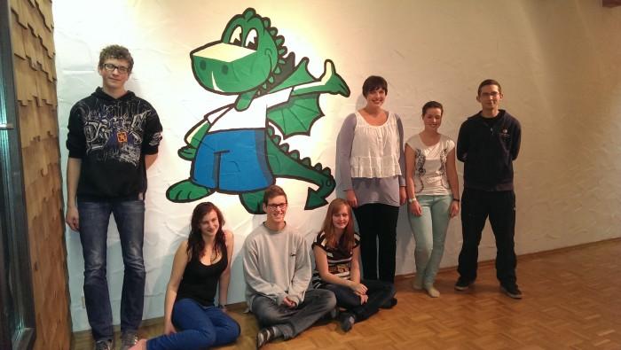 Gruppenbild der Drachen-Streichparty